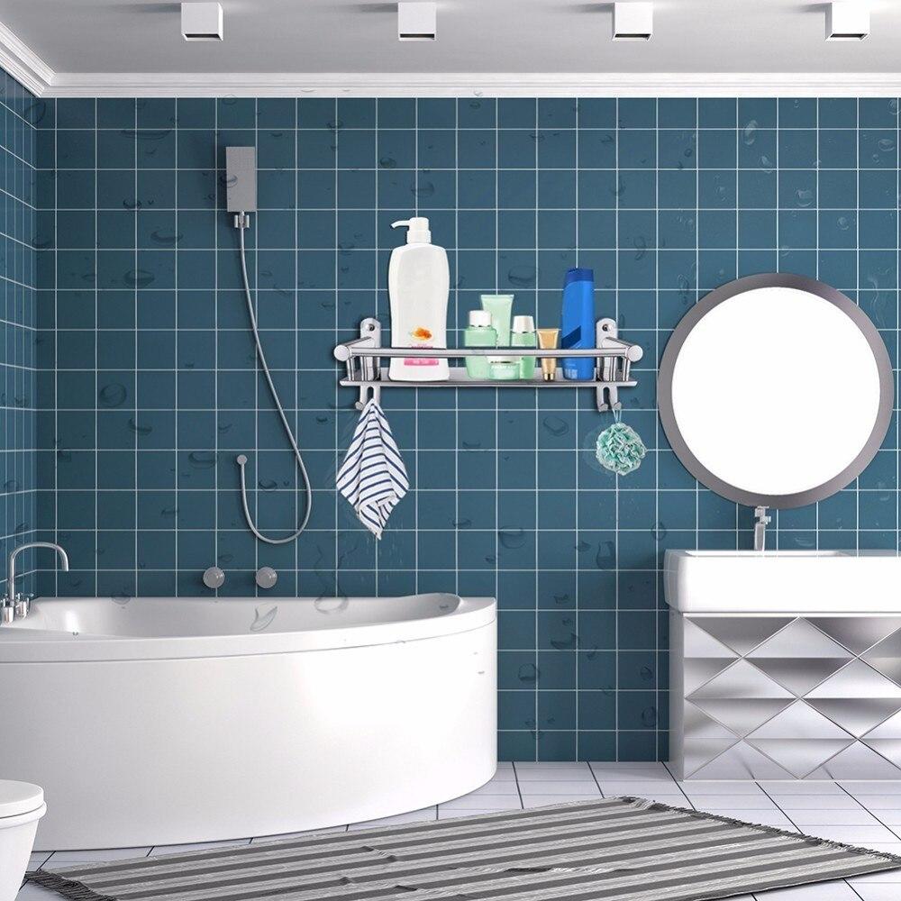 Contemporary Bathroom Shelves With Hooks Pattern - Bathtub Design ...