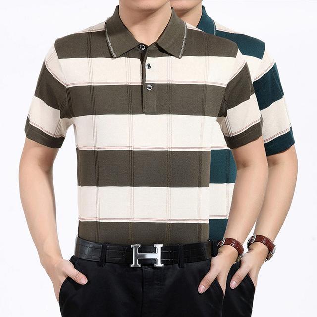 Marca Nueva Camisa de Los Hombres camisa de Polo de Algodón 2016 Verano Rayado Ocasional Delgada de manga corta POLO homme hombres de negocios de ropa