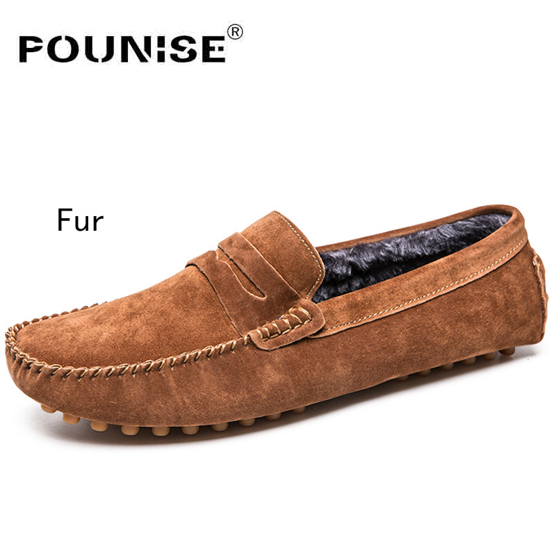 Genuine Leather Shoes Men Warm Fur Plush Flats Casual Shoes Men Slip On Loafers Soft Moccasins Shoes Driving Shoes Plus 38-47