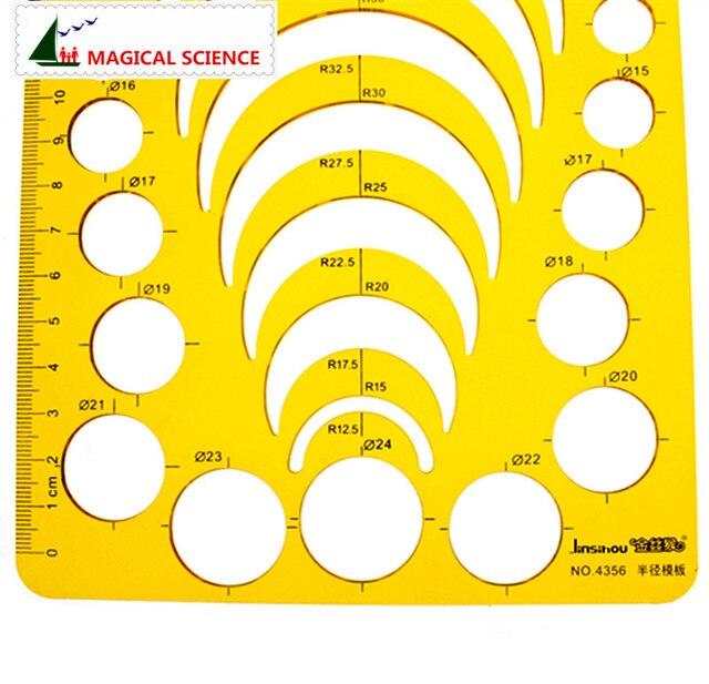 Modèle de rayon demi-cercle règle de dessin en plastique bijoux construction modèles de conception flexibles JSH4356