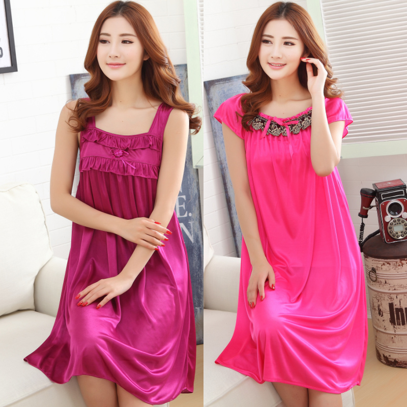 689516dac93 Ladies Sexy Silk Night Dress Girls Short Sleeve Night V neck Nightgown Plus  Size Women's Nightdress Lace Sleepwears Nightwear