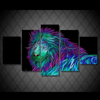 HD Printed abstract art lion Painting Canvas Print room decor print poster picture canvas Free shipping/ny-4980 image