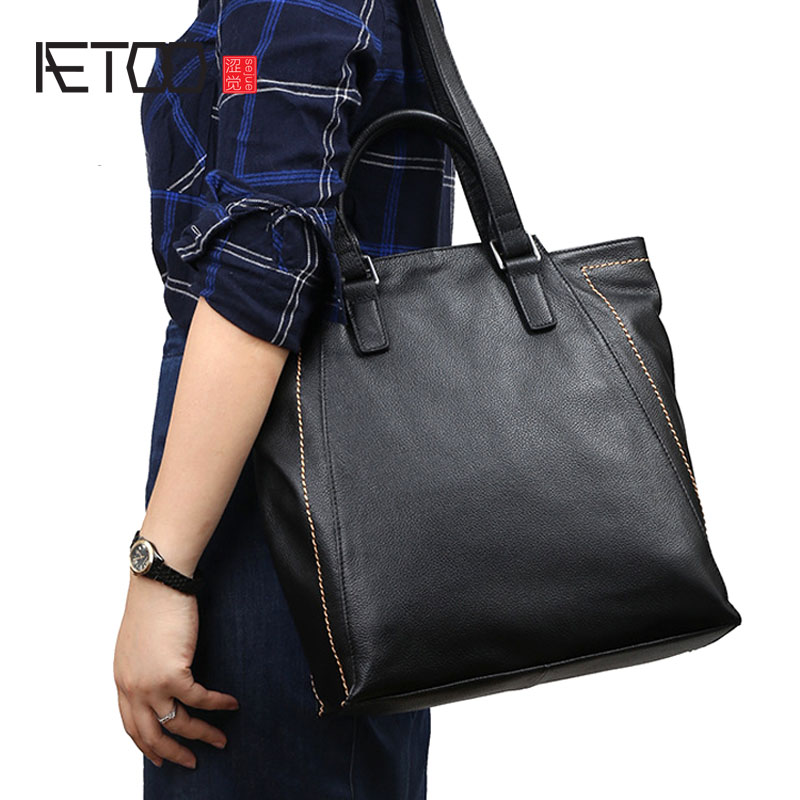 AETOO Retro leather handbags 2018 new shoulder bag soft leather high-capacity tote bags first layer leather handbagsAETOO Retro leather handbags 2018 new shoulder bag soft leather high-capacity tote bags first layer leather handbags