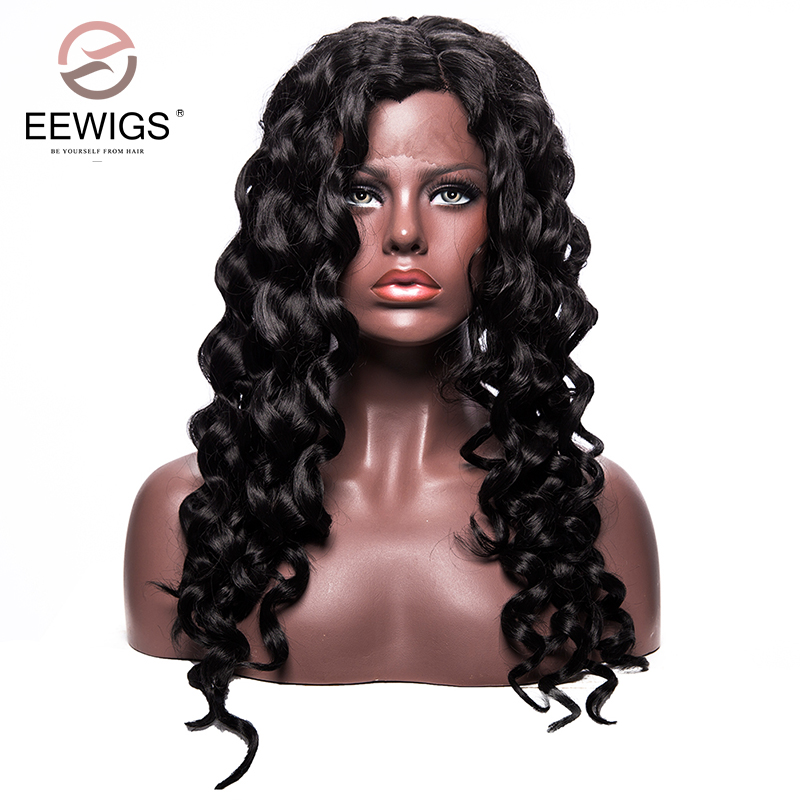 Synthetic Lace Front Wigs for Women Black Loose Wave Long Wig Glueless Natural L Part Heat Resistant Wigs for African American