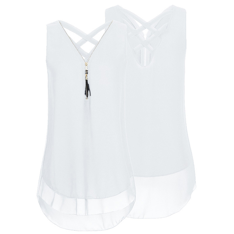 Summer New Sexy Women Chiffon Solid Blouse Zipper V Neck Sleeveless Cross Straps Back Asymmetric Vest Tops Ladies Blouses