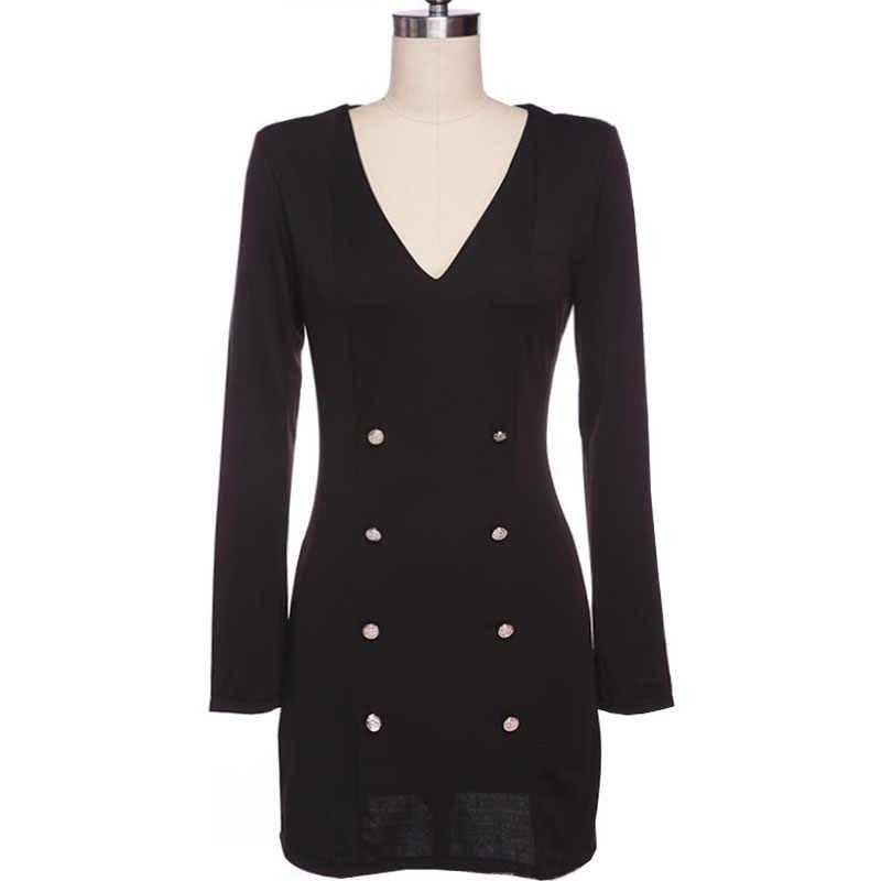 שמלות נשים 2020 אופנה חדשה אירופה ארוך שרוול v צוואר בתוספת גודל כפתורי שחור נשים של מיני שמלות vestidos דה festa MP004