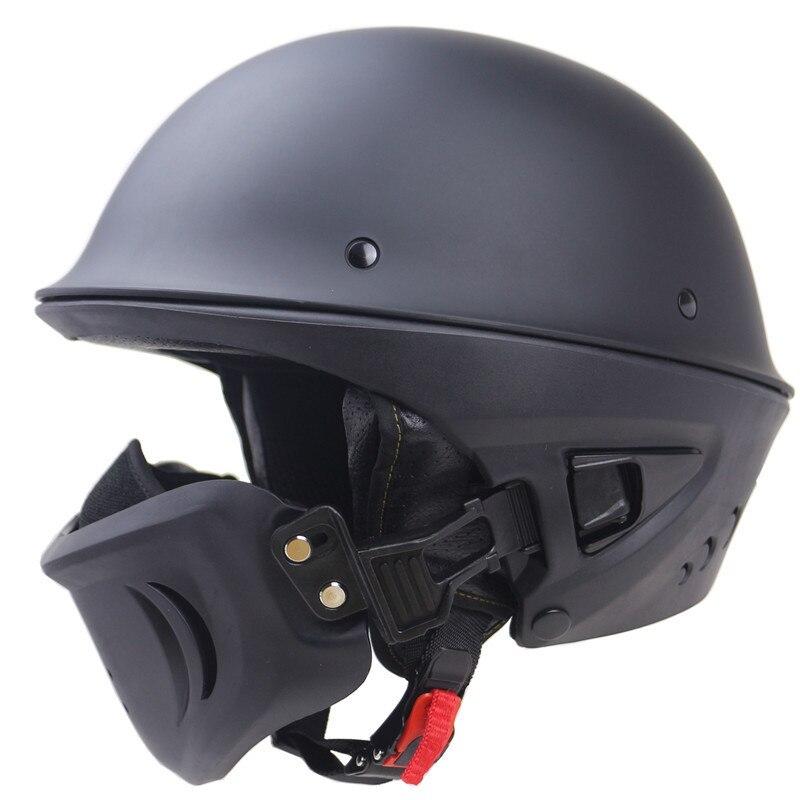 Style cloche Rogue casque de moto noir mat DOA Ghost Airtrix DOT approuvé Vintage casque masque ajuster le système