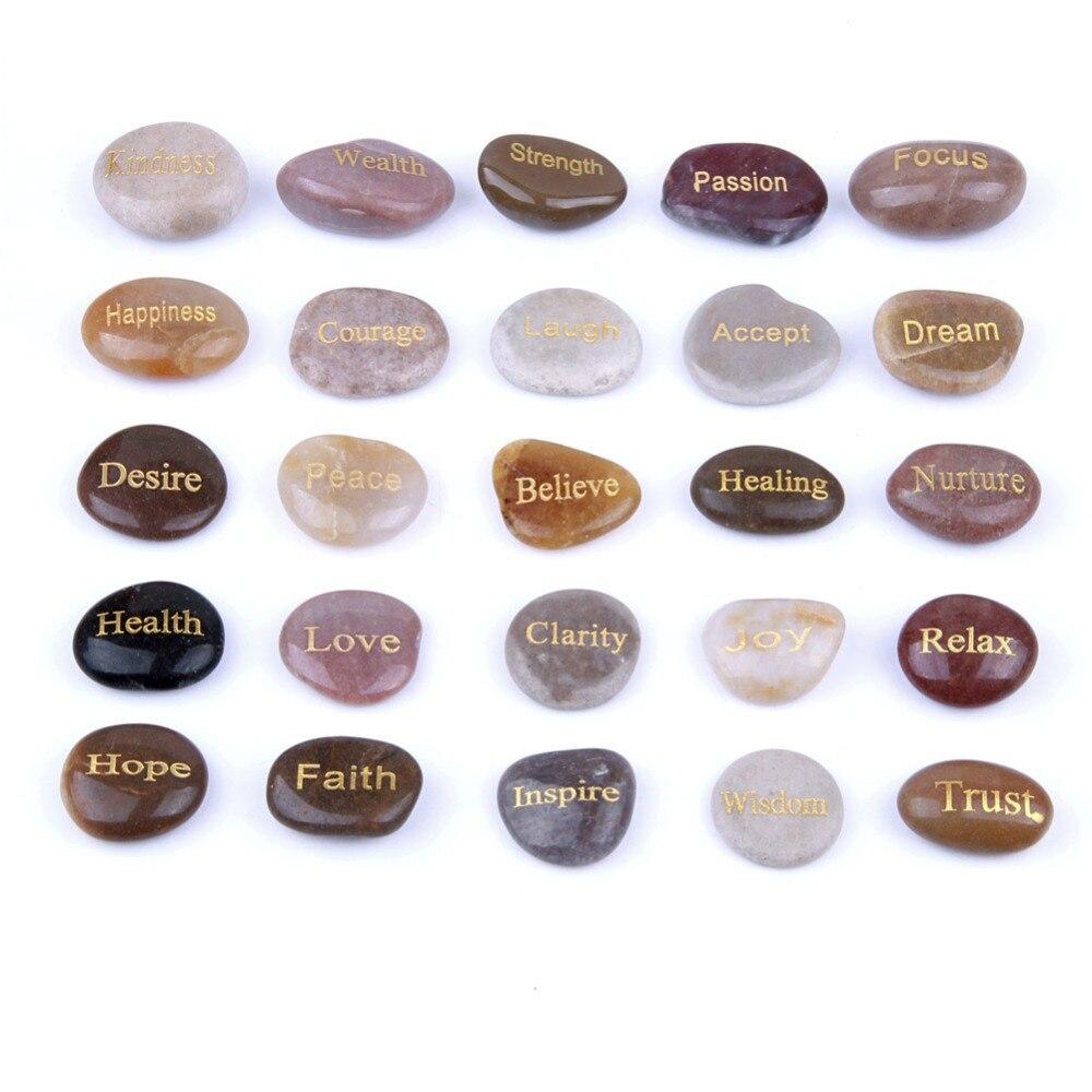 Натуральные Выгравированные речные камни набор резные Вдохновляющие Слова рухнутый Кристалл Рейки Исцеление фэн шуй ремесла украшения до