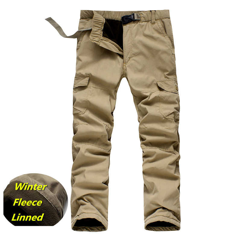 d0dc7ef5ebf New 2018 Men Cargo Pants Winter Thick Warm Pants Full Length Multi Pocket  Casual Military Baggy