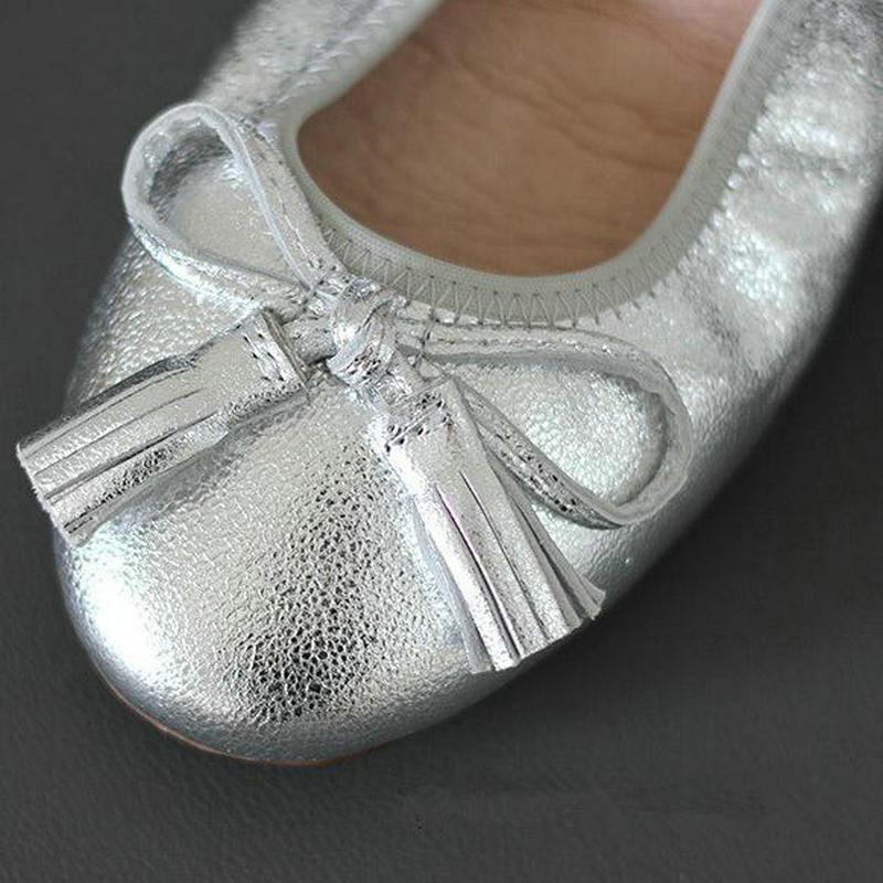 Véritable Voyage silver Les Chaussures Ensemble Pliable Gland Femmes Cuir slip Appartements Enceintes Automne Red Pied En black gold Fond Non De Mou Arc TSTrgqw