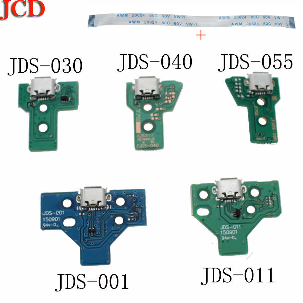 JCD  20sets=40pcs New Version JDS030 USB Charging Port Socket Board W/ Flex Ribbon Cable For PS4 Controller Charger Pcb Board