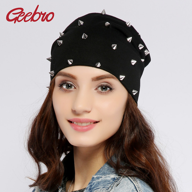 7da183e6c2c Geebro Women s Silver Rivets Beanies Hat Spring Casual Hip-Hop Cotton  Slouchy Knit Beanie for Women Skullies Men Bonnet Cap