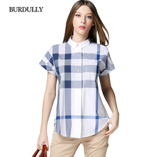 BURDULLY New Women Pure 100 Cotton Blouse Shirts Tops For Summer Ladies Short Sleeves 2017 Fashion Plaid Blouses Patchwork