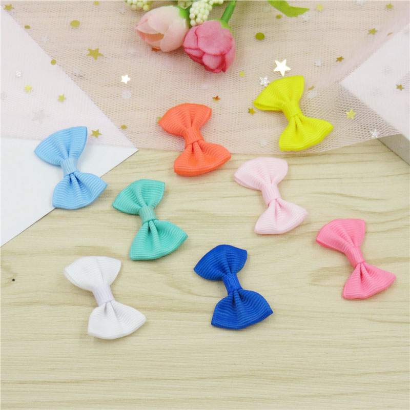 2PCS/LOT Lovely Solid Small Bows Hairpin For Girls Handmade Child Elastic Hair Bands Scrunchy Clip Hair Accessories For Kid 2018