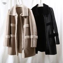 ZiZhen Winter Warm Women Real Lamb Fur Natural Sheep Shearling Fur Coat Long Outwear With Pockets Promotion 180828-2p