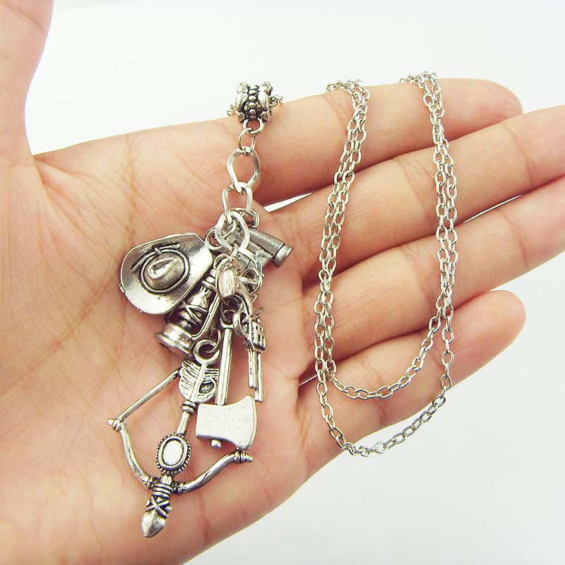 The Walking Dead Charm Pendant Necklace Axe Bow and Arrow Gun Hat Telescope Supernatural Chain Adventure