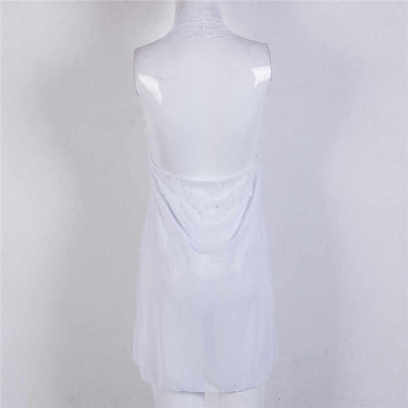 Camisón de encaje con cuello en V para mujer, Sexy, con tiras de espagueti, vestido de lencería de encaje, ropa de dormir, camisón de talla grande 3xl W3
