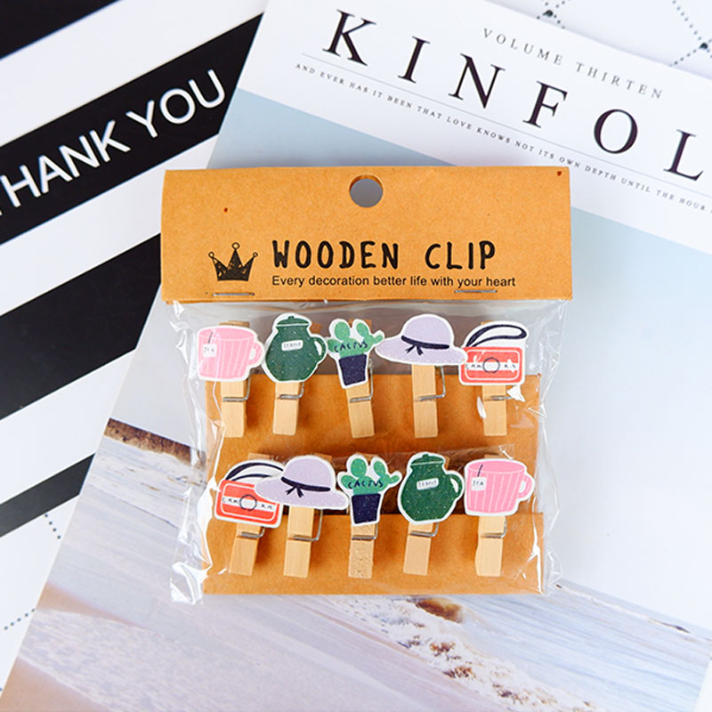 10 pcs pack Creative Fashionable life Wooden Clip Photo Craft DIY Clips with Hemp Rope Clothespin Craft Decoration Clips Pegs in Party DIY Decorations from Home Garden