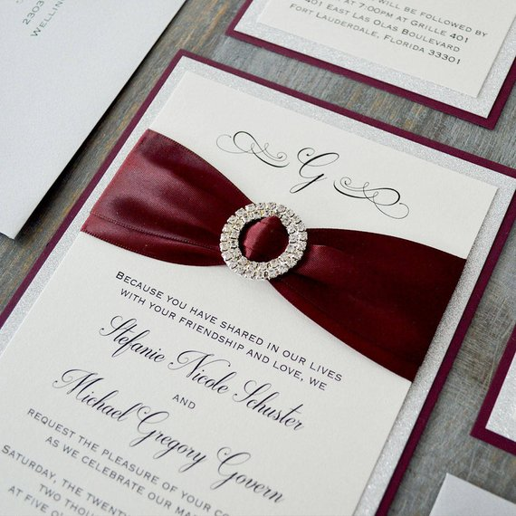 ca0680 elegant stain ribbon with fancy paper wedding invitations in