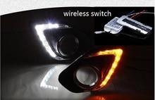 Osmrk LED DRL luz corriente diurna para Mitsubishi ASX 2013-5, con la lente del proyector, la señal de vuelta amarillo, negro o versión chapado