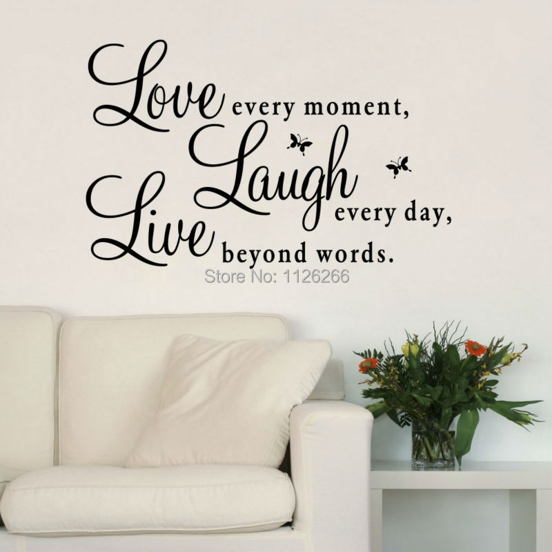 Inspirational Quotes Love Every Moment Laugh Every Day Live Beyond Words Wall Stickers for Living Room Decoration Home Decor