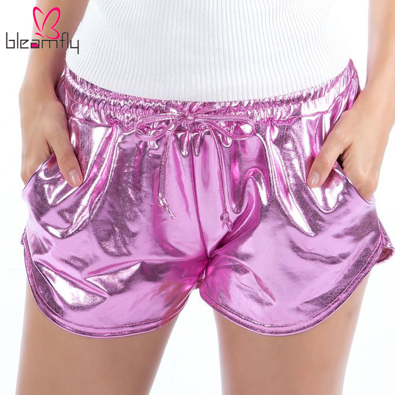 Holographic Casual   Shorts   for Women Laser Rave Festival Clothes High Waist   Shorts   Elastic   Shorts   with Pockets Show Party   Short