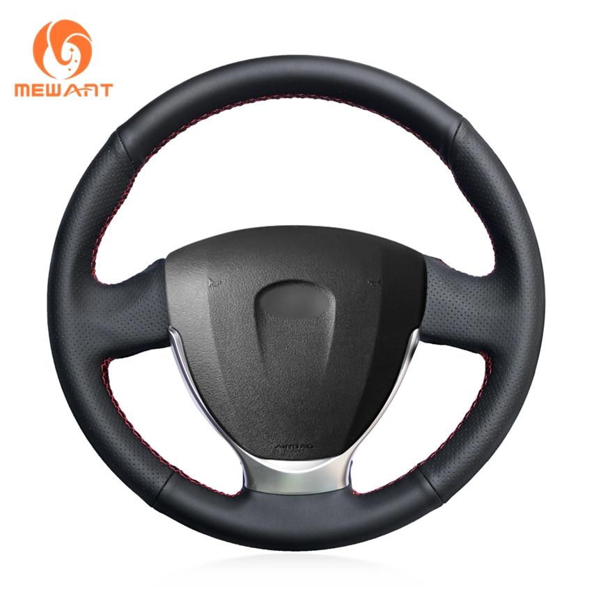 MEWANT Black Genuine Leather Car Steering Wheel Cover for Lada Priora 2013-2018 Kalina 2 2013-2018 ваз lada priora до 2013г цв фото рук по рем своими силами до 2013