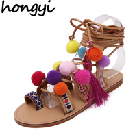 Tropical Ethnic Boho Bohemian Summer New Style Woman Pompon Sandals Gladiator Roman Strappy Knee High Boots