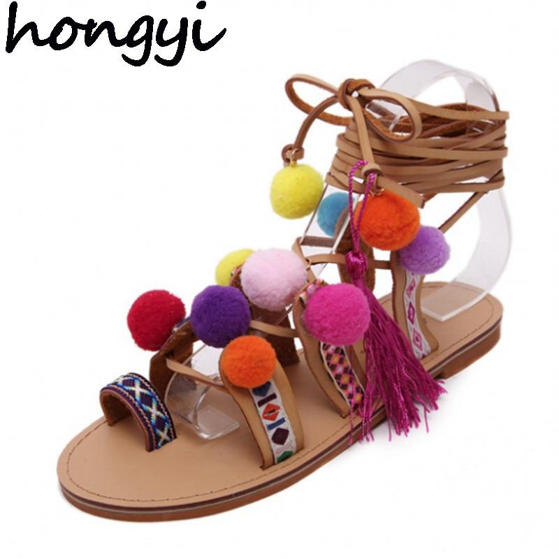 b8e0baa04b1 Plus Size 35-41 Ethnic Bohemian Summer Woman Pompon Sandals Gladiator Roman  Strappy Knee High