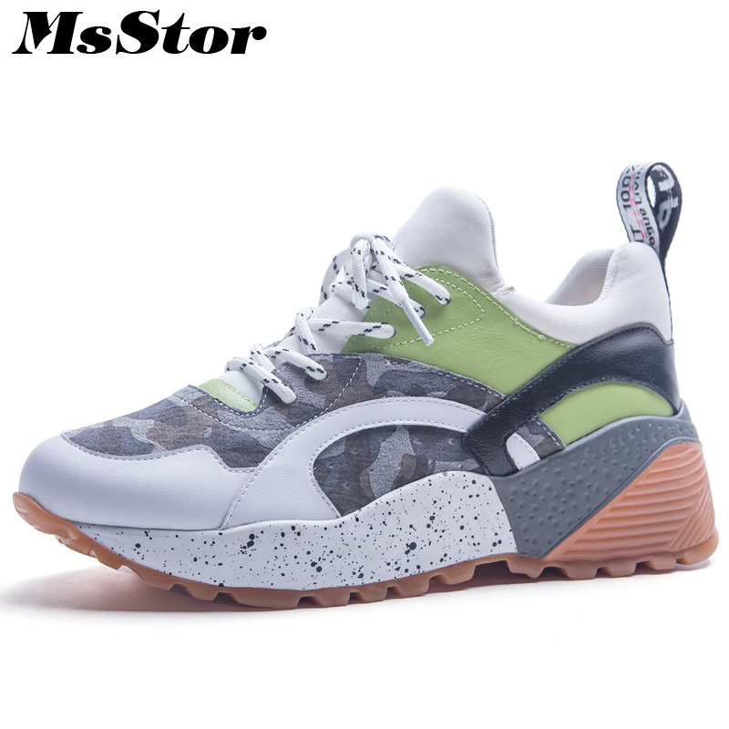 MsStor Pointed Toe Mixed Colors Women Flats Casual Fashion Ladies Flat Shoes 2018 Camouflage Sneakers Women Flats Brand Shoes instantarts 2018 fashion sneakers women flat heel colorful cats paws casual shoes soft women s sneakers ladies air mesh flats