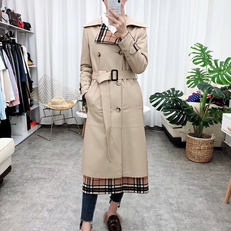 Feminina En Ceinturé 2018 De Black Jaqueta vent Femmes Mouton Veste Coupe Peau Long style Mode khaki X Mince Cuir Véritable q1ZzwP51