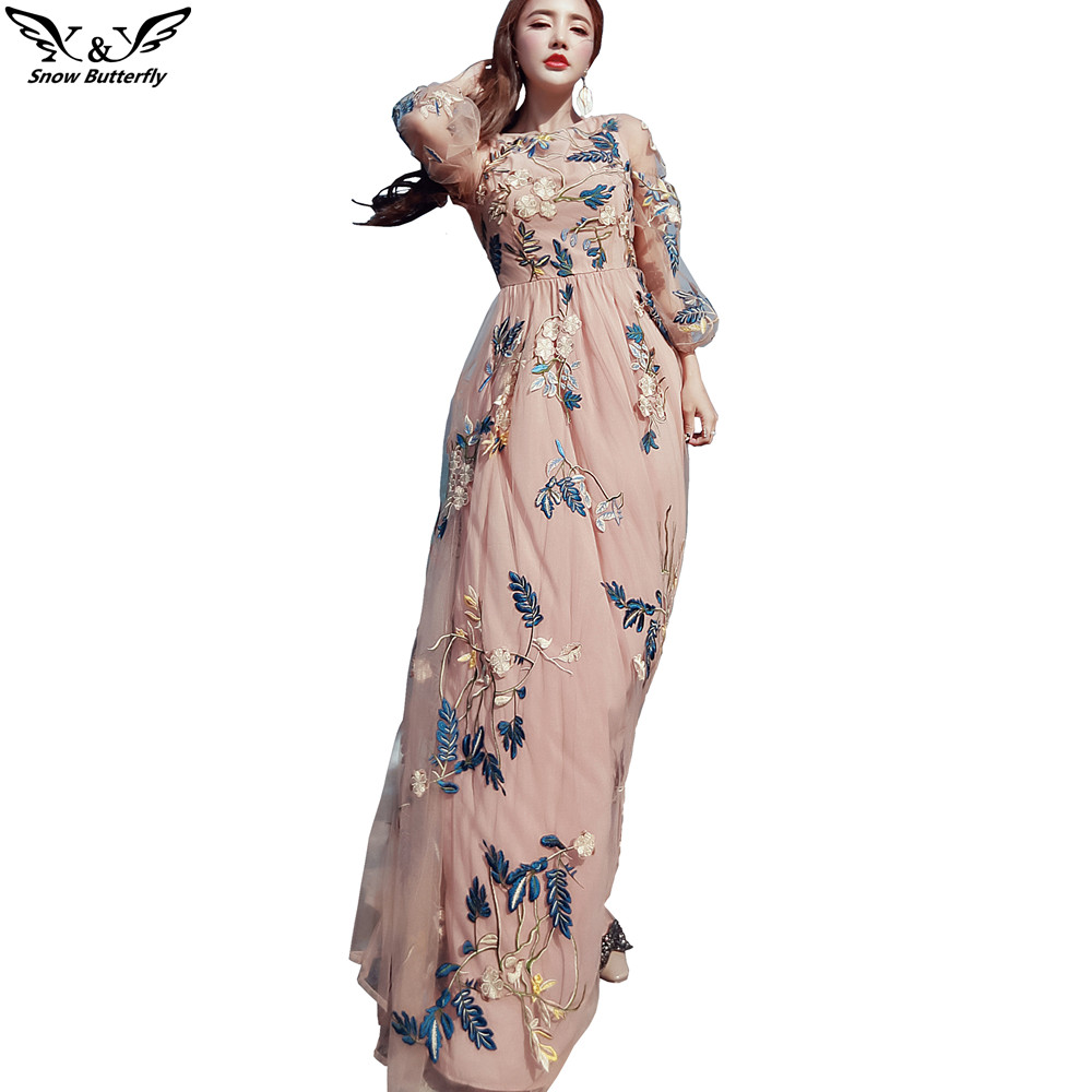 2017 High End Summer Style Embroidery Embroidered Mesh Flowers Dresses For  Women Dress Female Vestido Casual