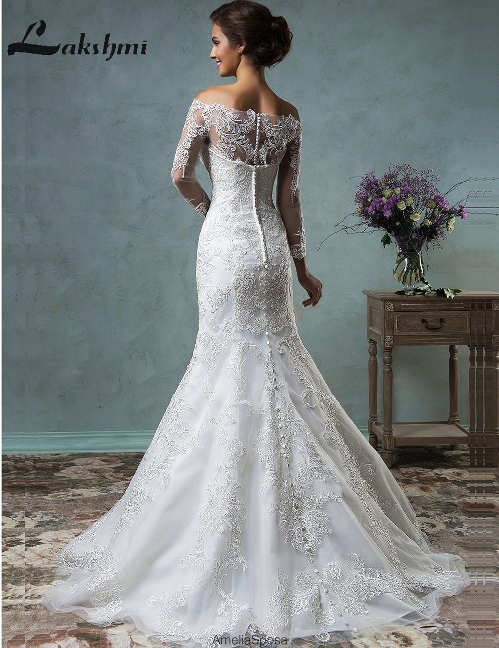 Aliexpress Elegant Long Sleeve Detachable Wedding Dresses Off Shoulder Lace Bridal Gowns With Removable Skirt Vestido De Noiva From Reliable