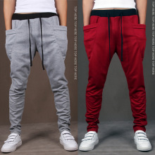 2017 New Trend Men Casual Pants High Quality Hip Hop Harem Outwear Pants Big Pockets Solid