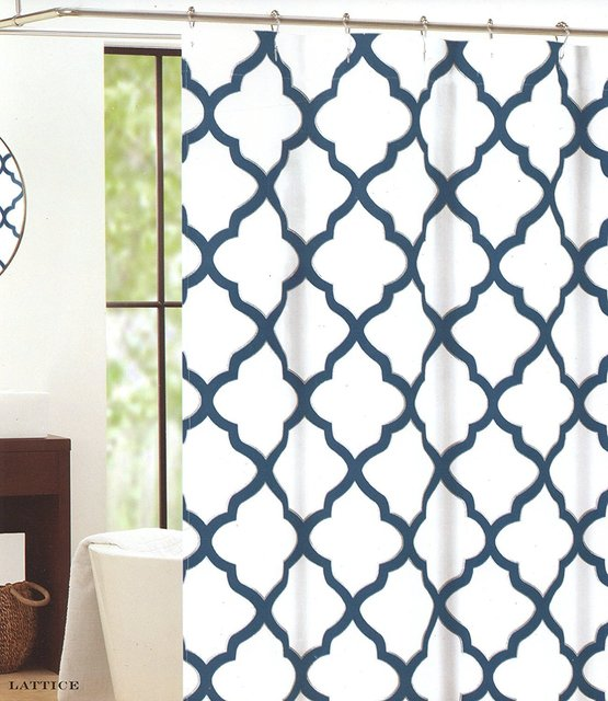 Memory Home Waterproof Polyester Fabric Shower Curtain Moroccan Tile Quatrefoil Blue Silver And White Lattice 70X72inch