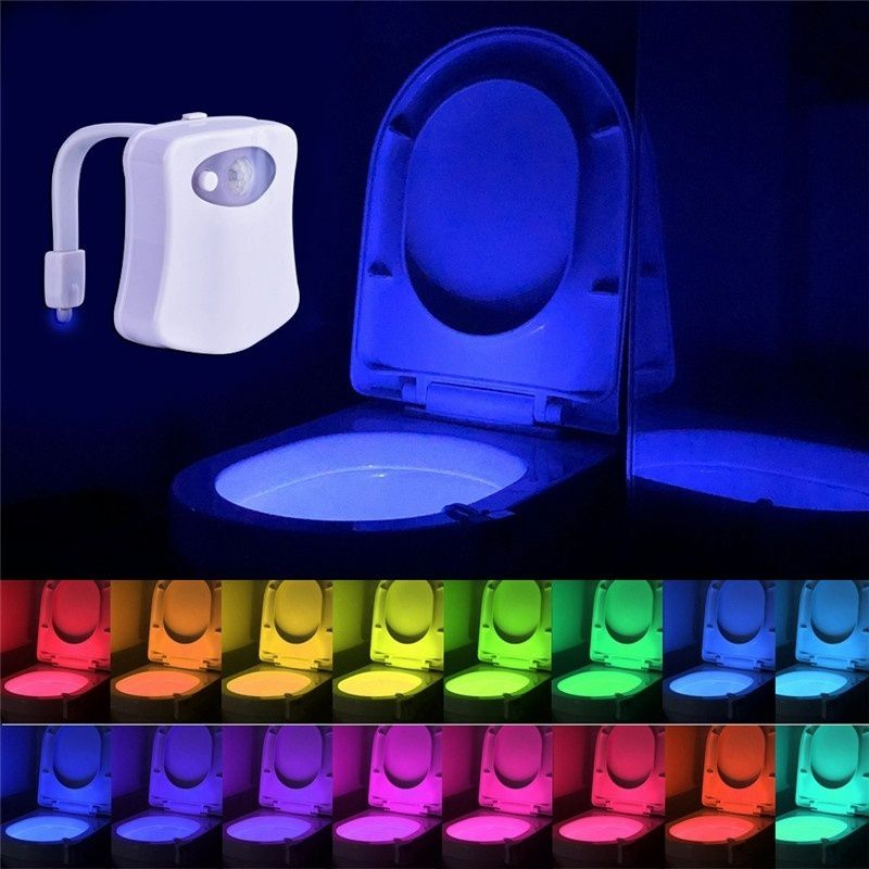 2019 Motion Sensor Toilet Waterproof Colors Light Luminaria Lamp Bowl Seat LED Backlight 8 Night WC For