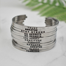 1PC Newest Quotes  Bracelets 316L Stainless Steel Cuff Bangle Fashion Women Female Inspirational Jewelry Bracelet
