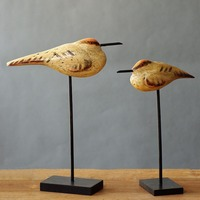 Contracted Wooden Seabirds Two Pieces Of A Set Creativity Handwork Arts Crafts Desktop Place Adorn Household Furnishing Articles