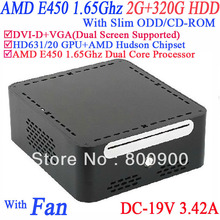 mini desktop computers with DVI-D 19VDC Slim ODD CD-ROM 2G RAM 320G HDD AMD APU E450 1.65GHz Radeon HD6310 core windows or linux(China (Mainland))