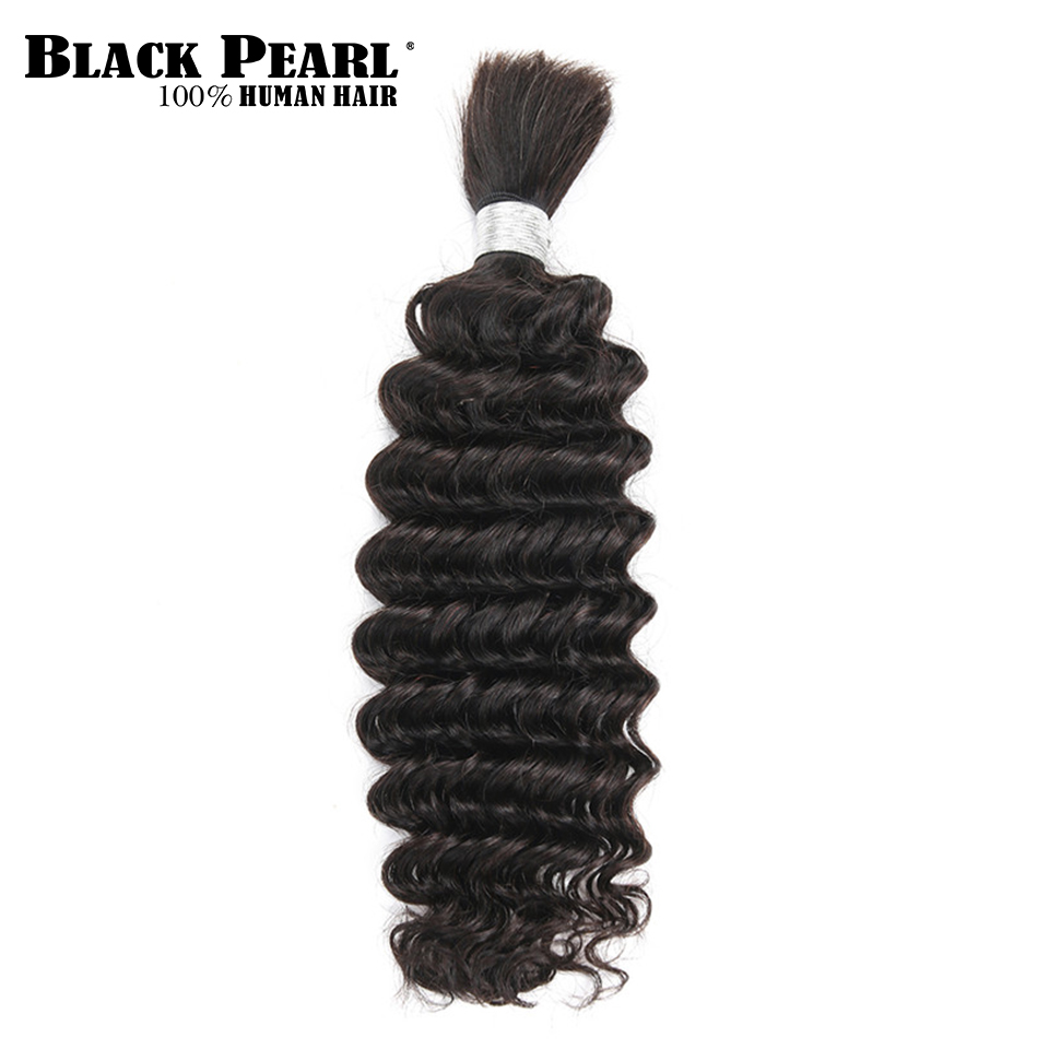 Black Pearl Pre-Colored Deep Wave Brazilian Hair Bulk Braiding Hair Extensions 1 Bundle Remy Human Hair Bundles Braids Hair Deal