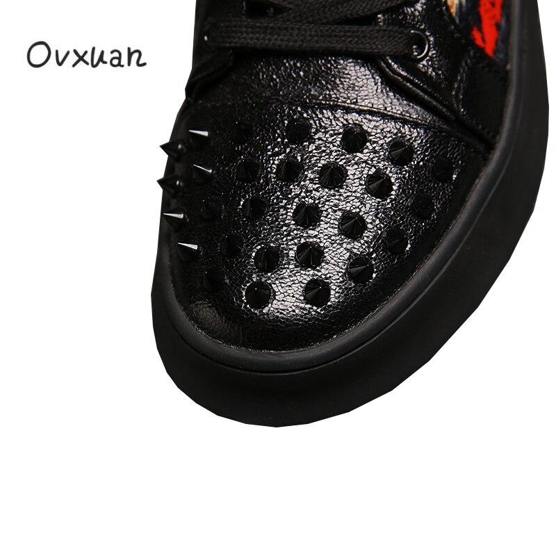 Marca de lujo Punk Skull Metal remache Top hombres Zapatillas Zapatos Casual plataforma Zapatillas moda graduación vestido mocasines Sapato Masculino-in Mocasines from zapatos    2