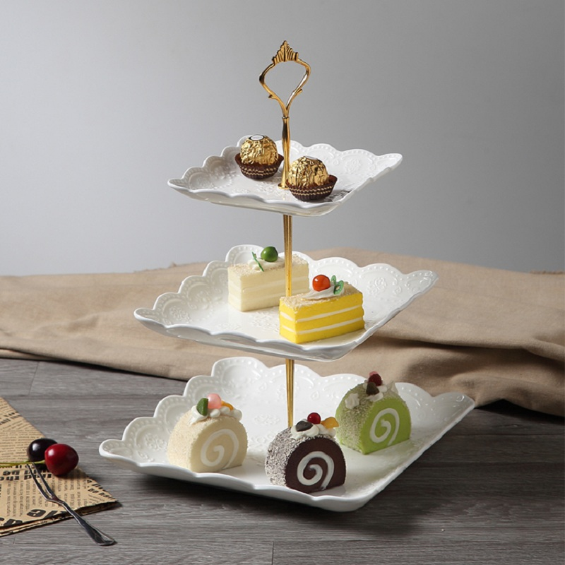 3 Tiered Cake Stand Stainless Steel Candy Fruits Desserts Plate Rods ...