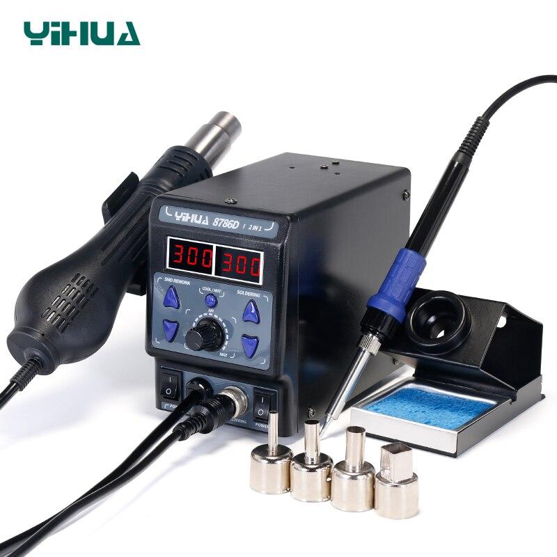 YIHUA 8786D паяльная станция цифровым Дисплей гладить паяльные станции SMD фена паяльная станция Сварка, пайка поставок