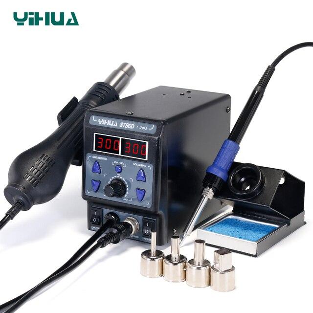 YIHUA 8786D паяльная станция цифровой дисплей паяльные станции SMD горячего воздуха паяльная станция сварочные паяльные принадлежности