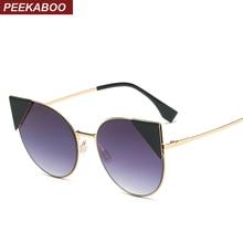 Peekaboo female fashion sunglasses women cat eye sunglasses brand cat shades sexy pink purple metal frame oculos de sol