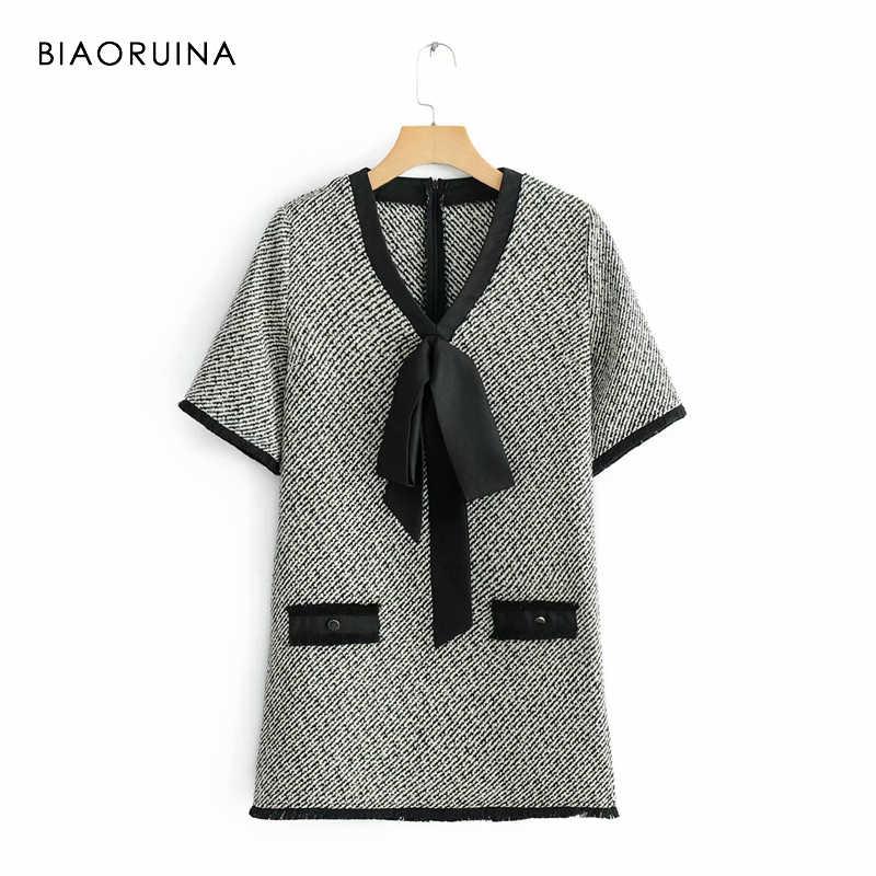 BIAORUINA, европейский стиль, женское винтажное твидовое прямое мини-платье с v-образным вырезом, женское модное платье с бантом и кисточками, украшение, половина рукава