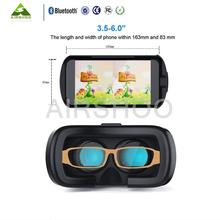 2016 Google Cardboard VR BOX 2.0 Version VR Virtual Reality 3D Glasses With White Bluetooth Remote Controller with retailer box