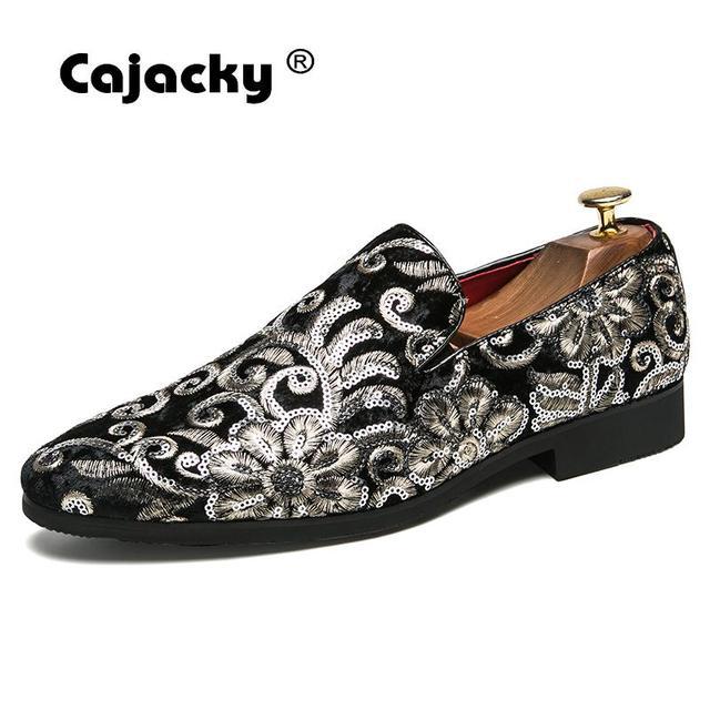 Cajacky חדש גברים זמש ופרס שחור כחול פרחוני עישון נעלי גדול גודל 10 9.5 נשף מסיבת להחליק על נעלי גברים zapatos Hombre נצנצים