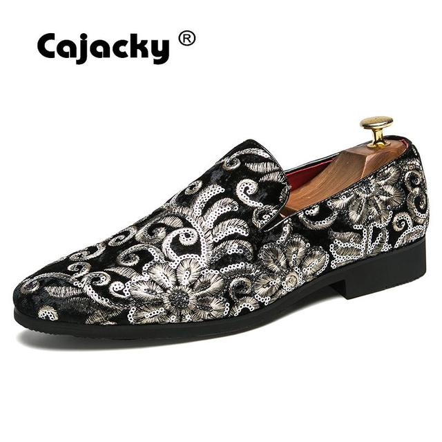 Cajacky New Men Suede Loafers Black Blue Floral Smoking Shoes Big Size 10  9.5 Prom Party e8ee128cebe9