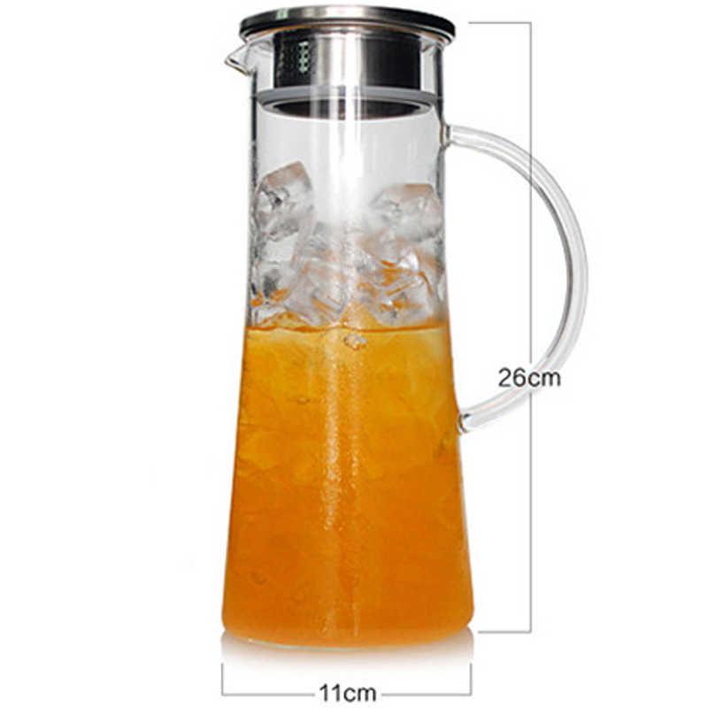 Arshen 1800 ml Nước Trái Cây Hoa Kính Ấm Đun Nước Lớn Nước Outlet Jug Chịu Nhiệt Transparent Container với Thép Không Gỉ Lọc